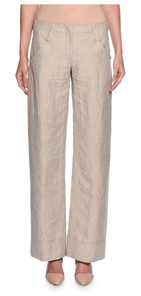 Giorgio Armani Relaxed Logo-Pocket Pants in beige - Giorgio Armani woven pants. Side slip and back patch...