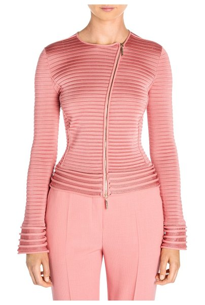Giorgio Armani ribbed moto jacket in rose pink - The rebellious moto jacket is turned on its head in this...