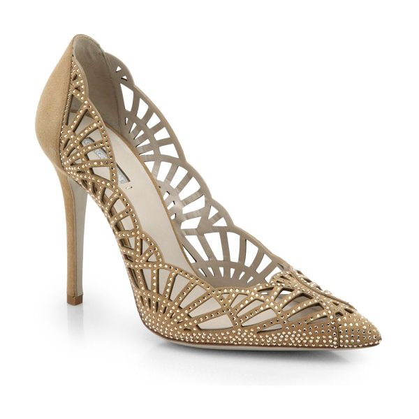 Giorgio Armani Scalloped suede & crystal pumps in beige - Tiny crystals spark the supple suede uppers of this...