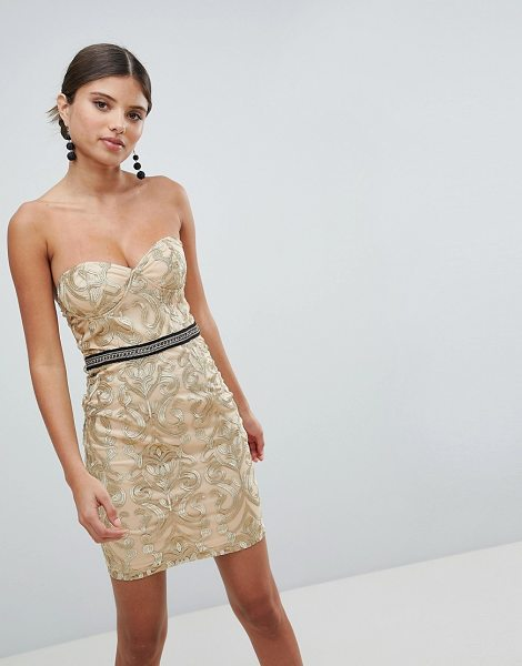 Girl In Mind bandeau embroidered mini dress-gold in gold