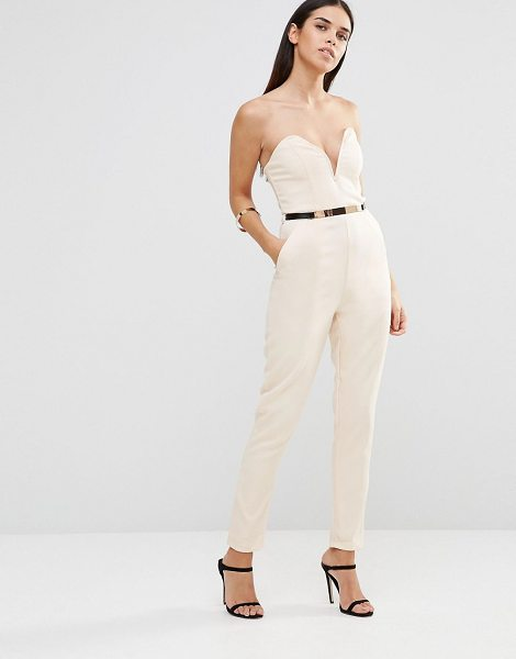Girl In Mind Bandeau jumpsuit with belt in nude - Jumpsuit by Girl in Mind, Lightweight textured woven...