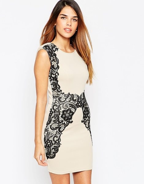 Girl In Mind Body-conscious dress with contrast lace detail in champagne - Evening dress by Girl in Mind Soft touch, stretch jersey...