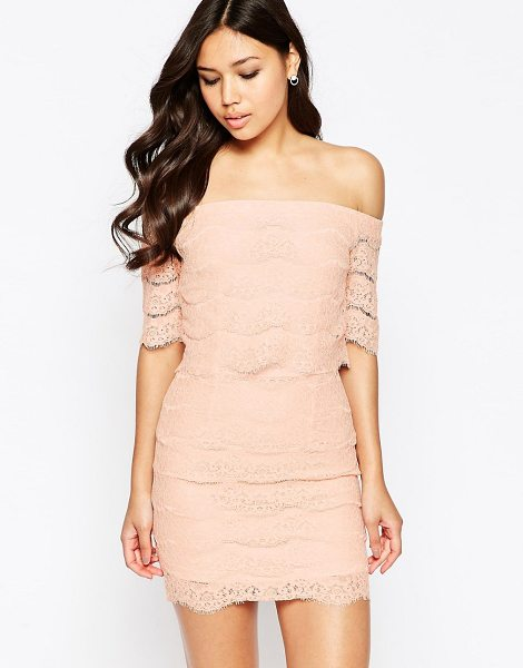 Girl In Mind Erin off shoulder lace mini dress in nude - Evening dress by Girl In Mind Lined lace Off-shoulder...