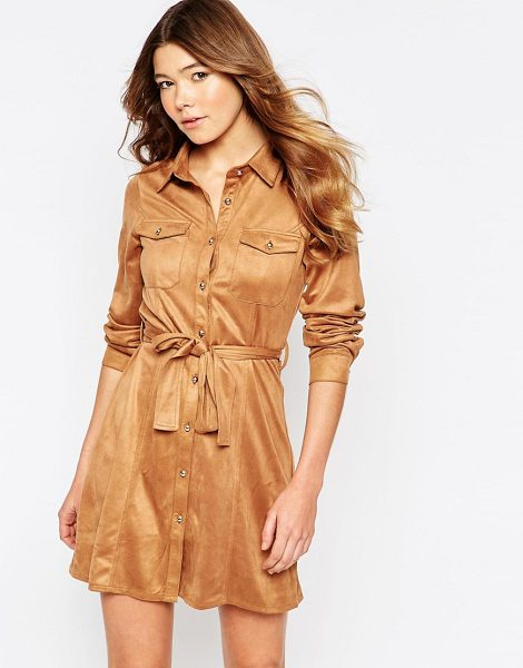 Girl In Mind Faux suede button front long sleeves shirt dress in tan - Casual dress by Girl In Mind, Super soft-touch faux...