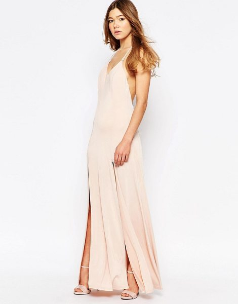 Girl In Mind Janel beaded back maxi dress in nude - Maxi dress by Girl In Mind, Slinky stretch fabric,...