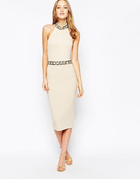 Girl In Mind Midi dress with embellished waist and neckline in beige - Midi dress by Girl In Mind Smooth stretch fabric Halter...