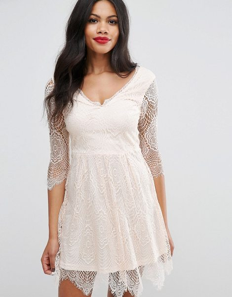 Girls on Film Girls On Film Lacey Skater Dress in pink - Evening dress by Girls On Film, Sheer lace fabric,...