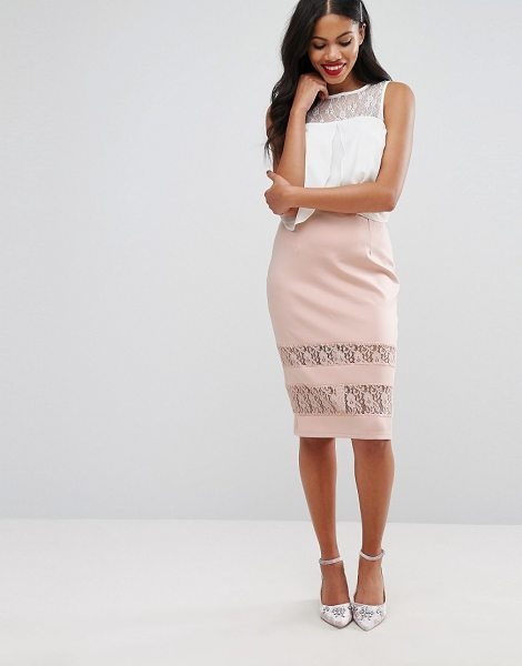 Girls on Film Girls On Film Pencil Skirt With Lace Panels in pink - Skirt by Girls On Film, Woven fabric, High-rise...