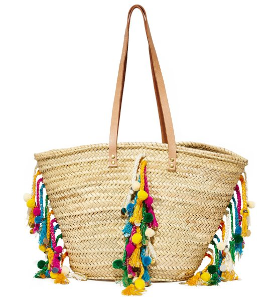 GISELLE deva tote in tan/multi - Colorful, braided tassels and pom-poms add bohemian...