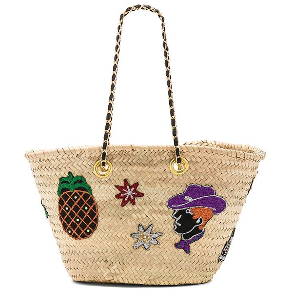 "GISELLE Ginevra Bag in beige - ""Woven straw exterior and lining. Open top. Interior..."