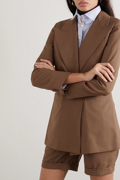 Giuliva Heritage Collection the stella double-breasted grain de poudre wool blazer in brown