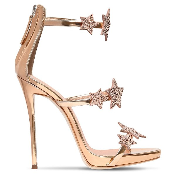 Giuseppe Zanotti 120mm swarovski metallic leather sandals in rose gold - 120mm Metallic leather covered stiletto heel. 20mm...