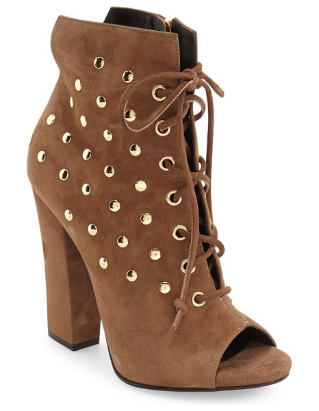 Giuseppe Zanotti 'alien' open toe boot in tan suede - Gleaming goldtone studs illuminate a svelte ankle boot...