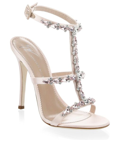 Giuseppe Zanotti alien embellished t-strap sandals in shell pink - Satin sandals embellished with stones. Stiletto heel,...