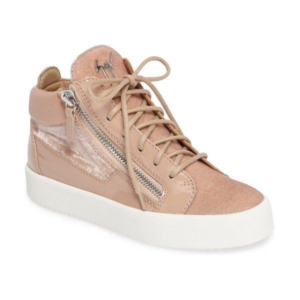 Giuseppe Zanotti breck mid top sneaker in light pink - Gunmetal logo hardware and exposed side zippers add...