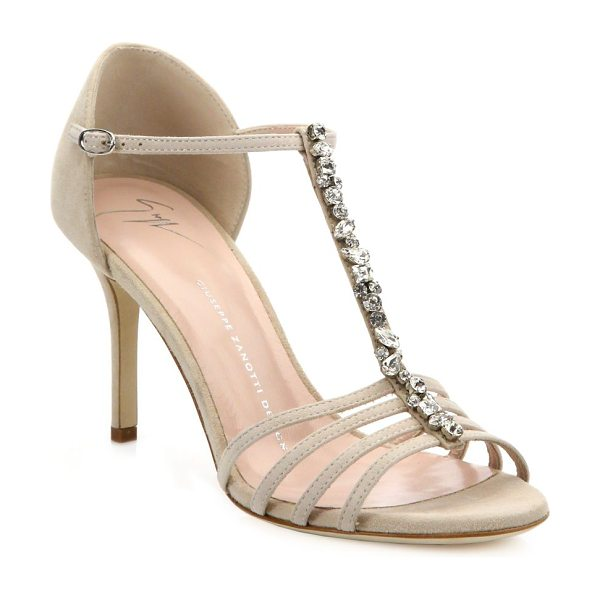 Giuseppe Zanotti cam pallido crystal-embellished suede sandals in nude - Elegant suede sandal enhanced with Swarovski crystal...