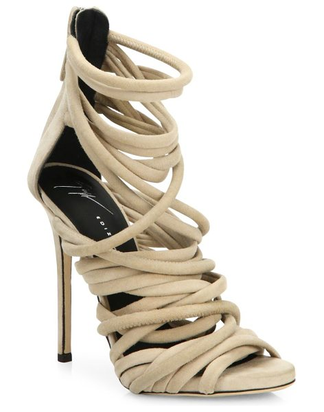 Giuseppe Zanotti runway strappy suede sandals in nude - Multi tube straps crisscross atop alluring suede sandal....