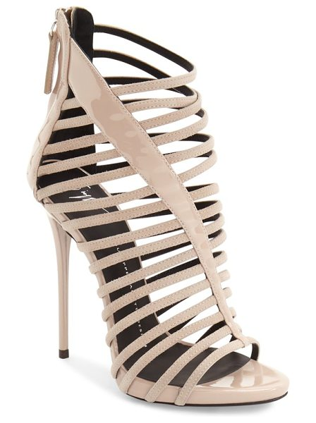 Giuseppe Zanotti coline cage sandal in nude suede - A tapered patent panel stretches asymmetrically across...