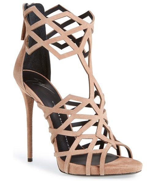 Giuseppe Zanotti coline cage sandal in caramello suede - Geometric cage straps provide a stunning update to a...