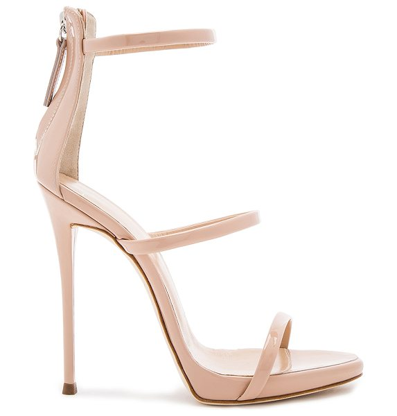 Giuseppe Zanotti Coline Heel in beige - Patent leather upper with leather sole. Back zip...