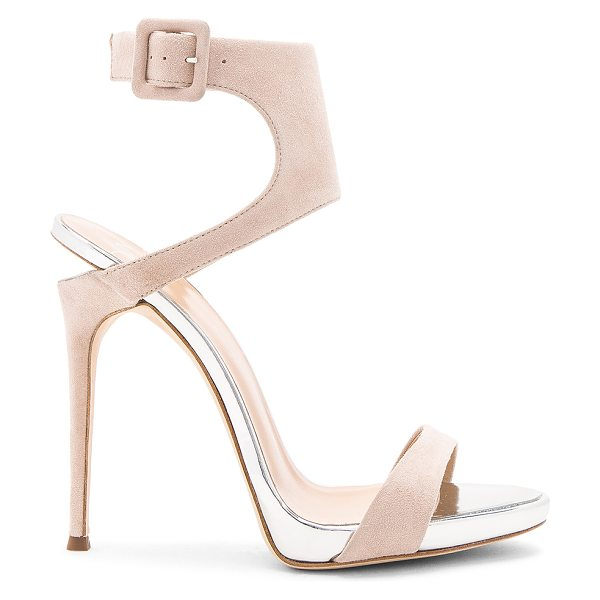 Giuseppe Zanotti Coline Heel in beige - Suede upper with leather sole. Ankle strap with buckle...