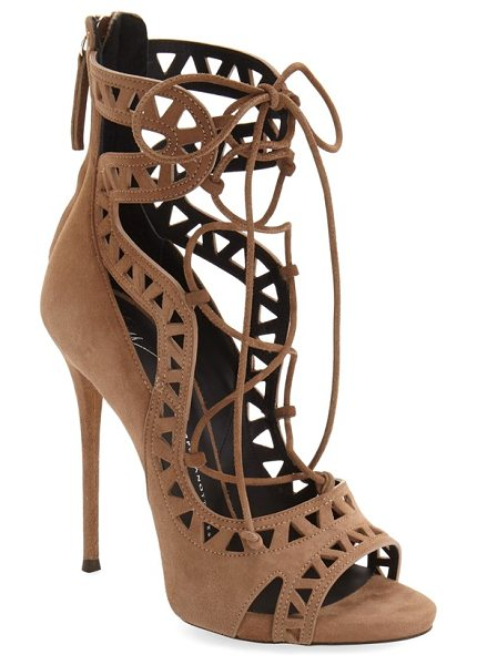 Giuseppe Zanotti 'coline' sandal in tan suede - Curvaceous straps and geometric cutouts extend the...