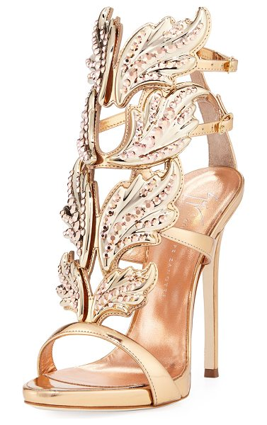 Giuseppe Zanotti Coline Wings Leather 110mm Sandals in rose gold