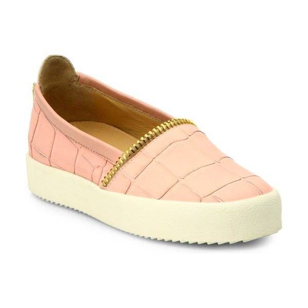 GIUSEPPE ZANOTTI Croc-embossed leather slip-on sneakers in pink - Sneaks step into the wild, thanks to ultra-luxe...