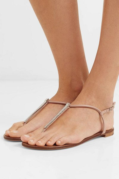 Giuseppe Zanotti crystal-embellished leather sandals in neutral