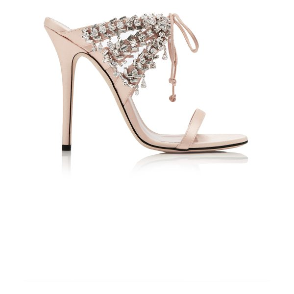 Giuseppe Zanotti Crystal-Embellished Satin Sandals in neutral - Giuseppe Zanotti's Italian-crafted sandals are perfect...