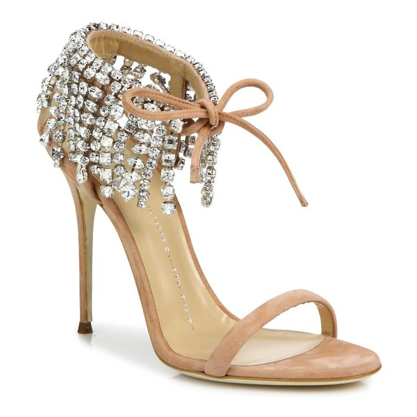 Giuseppe Zanotti crystal-embellished suede sandals in candy - Luxe suede sandal with cascading crystal-trimmed ankle....