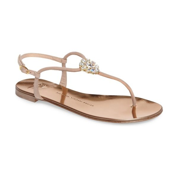 Giuseppe Zanotti crystal sandal in nude - Shimmering Swarovski crystals dress up a streamlined...