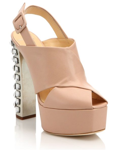 Giuseppe Zanotti Crystal-trimmed leather platform slingback sandals in nude