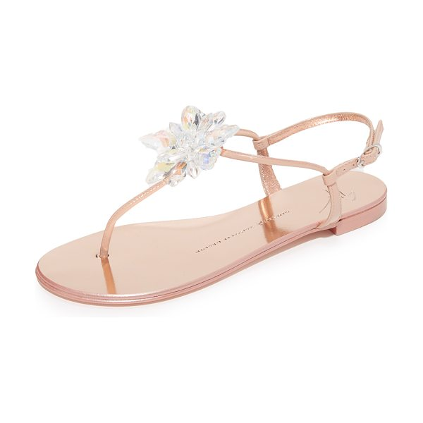 Giuseppe Zanotti flat sandals in blush - Opulent crystals detail the T-strap on these metallic...