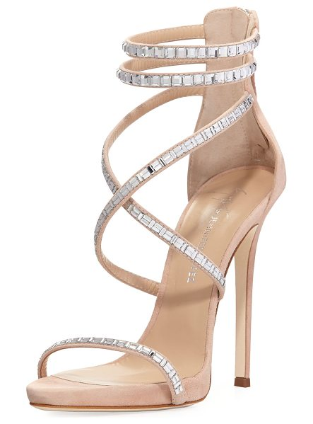 Giuseppe Zanotti for Jennifer Lopez Coline Suede and Crystal Sandal in nude