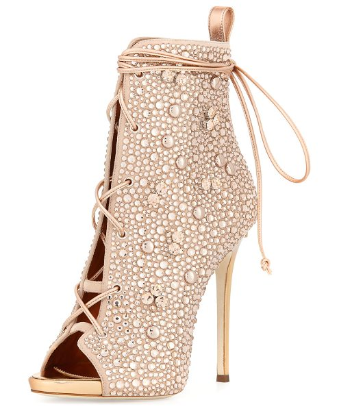 Giuseppe Zanotti for Jennifer Lopez Jeweled Lace-Up Open-Toe 120mm Bootie in beige - Giuseppe Zanotti for Jennifer Lopez jeweled suede...