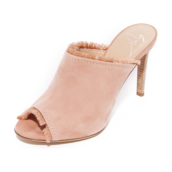 Giuseppe Zanotti fringe mules in candy - Soft fringe peeks from the top line and peep toe on...
