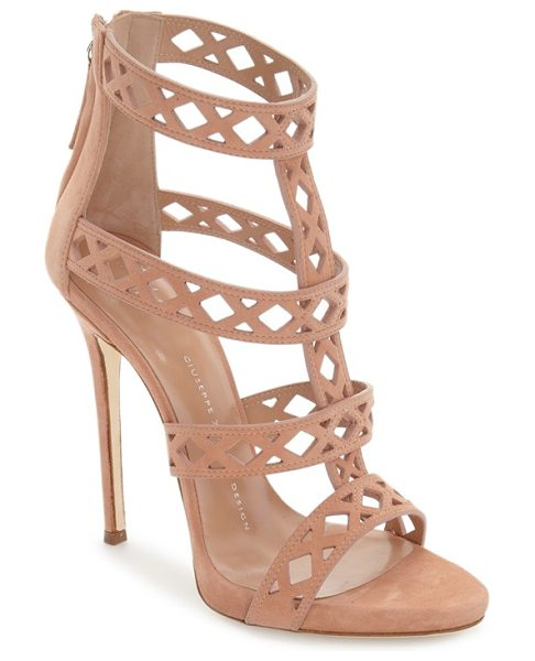 Giuseppe Zanotti geometric cage sandal in nude suede - A laser-cut cage sandal crafted in Italy from lush suede...