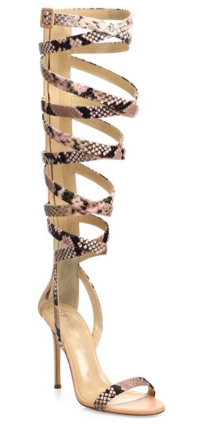 Giuseppe Zanotti giuseppe for jennifer lopez 105 snake-print leather lace-up sandals in rose