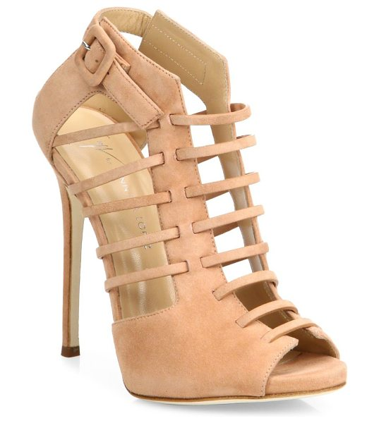 Giuseppe Zanotti giuseppe for jennifer lopez 120 suede cage peep-toe booties in nude - From the Giuseppe for Jennifer Lopez Capsule Collection....