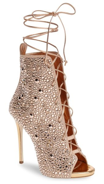 GIUSEPPE ZANOTTI giuseppe for jennifer lopez lynda embellished lace-up sandal - Crisscrossed corset laces bridge the open top of a...