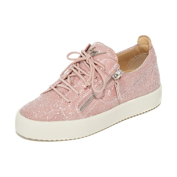 Giuseppe Zanotti glitter sneakers in cipria - Exposed zips add an edgy feel to these glam,...