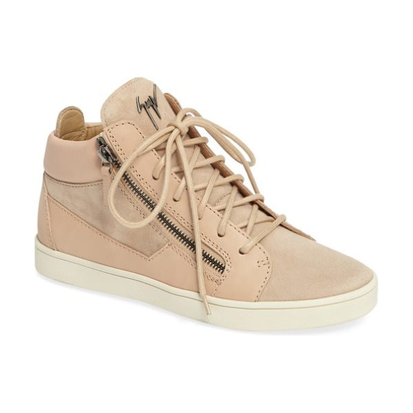 Giuseppe Zanotti high top sneaker in light pink leather - A street-chic high top is detailed with edgy, gleaming...