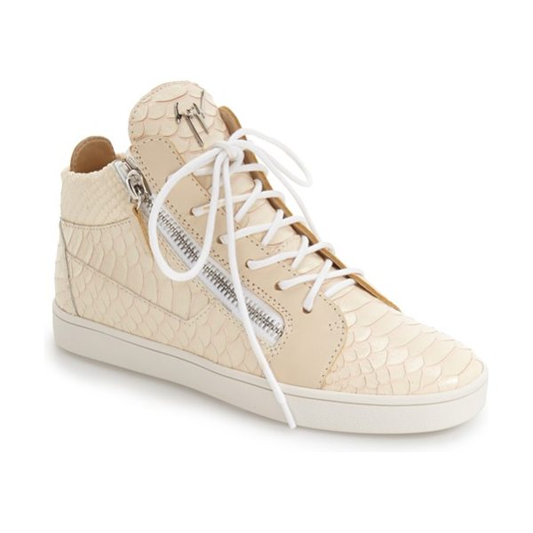 GIUSEPPE ZANOTTI high top sneaker in natural leather - A street-chic high top is detailed with edgy, gleaming...