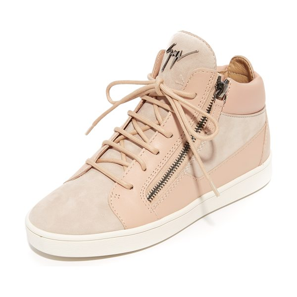 Giuseppe Zanotti high top zip sneakers in blush - Signature double-zip Giuseppe Zanotti sneakers in pale,...