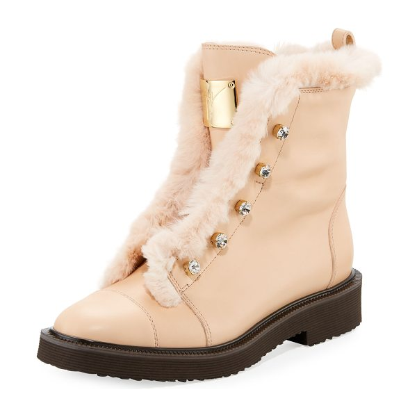 Giuseppe Zanotti Hilary Fur-Lined Leather Boot with Crystals in beige - Giuseppe Zanotti leather boot with dyed rabbit (China)...
