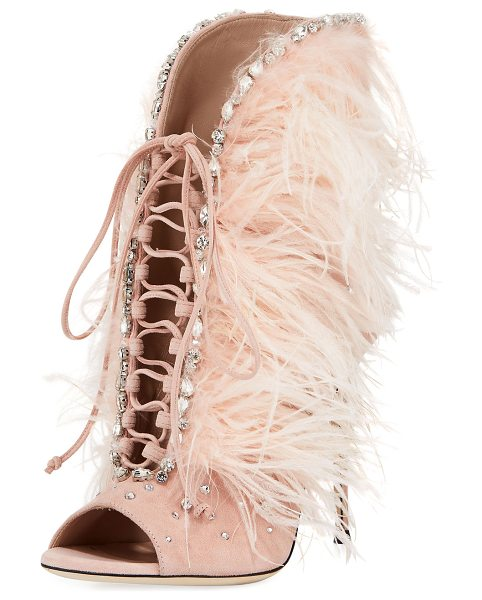 GIUSEPPE ZANOTTI Jeweled Feather Suede Lace-Up Bootie - EXCLUSIVELY AT NEIMAN MARCUS Giuseppe Zanotti suede...
