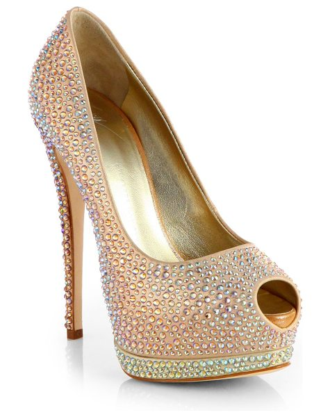Giuseppe Zanotti Jeweled satin platform pumps in goldmulti - Put your best foot forward in a head-turning satin pump,...