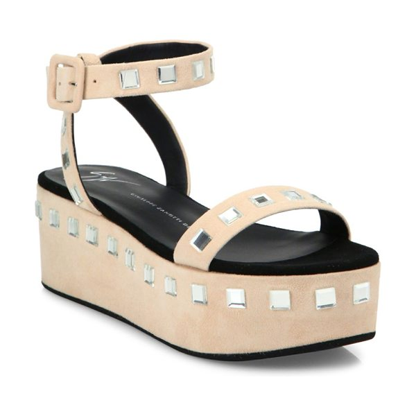 GIUSEPPE ZANOTTI jeweled suede platform ankle-strap sandals - Retro-chic platform snadal with square crystal trim....