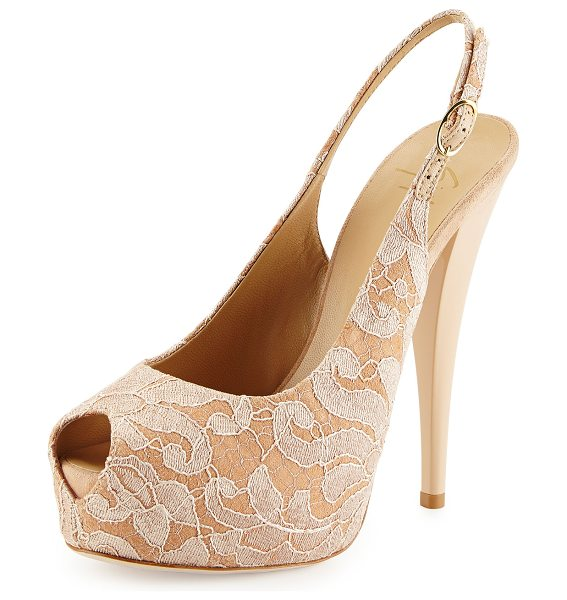 Giuseppe Zanotti Lace-covered leather platform slingback sandal in nude